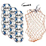 SELECT Club DB Soccer Ball Package, Pack of 12 Soccer Balls with Ball Net and Hand Pump, White/Blue, Size 5
