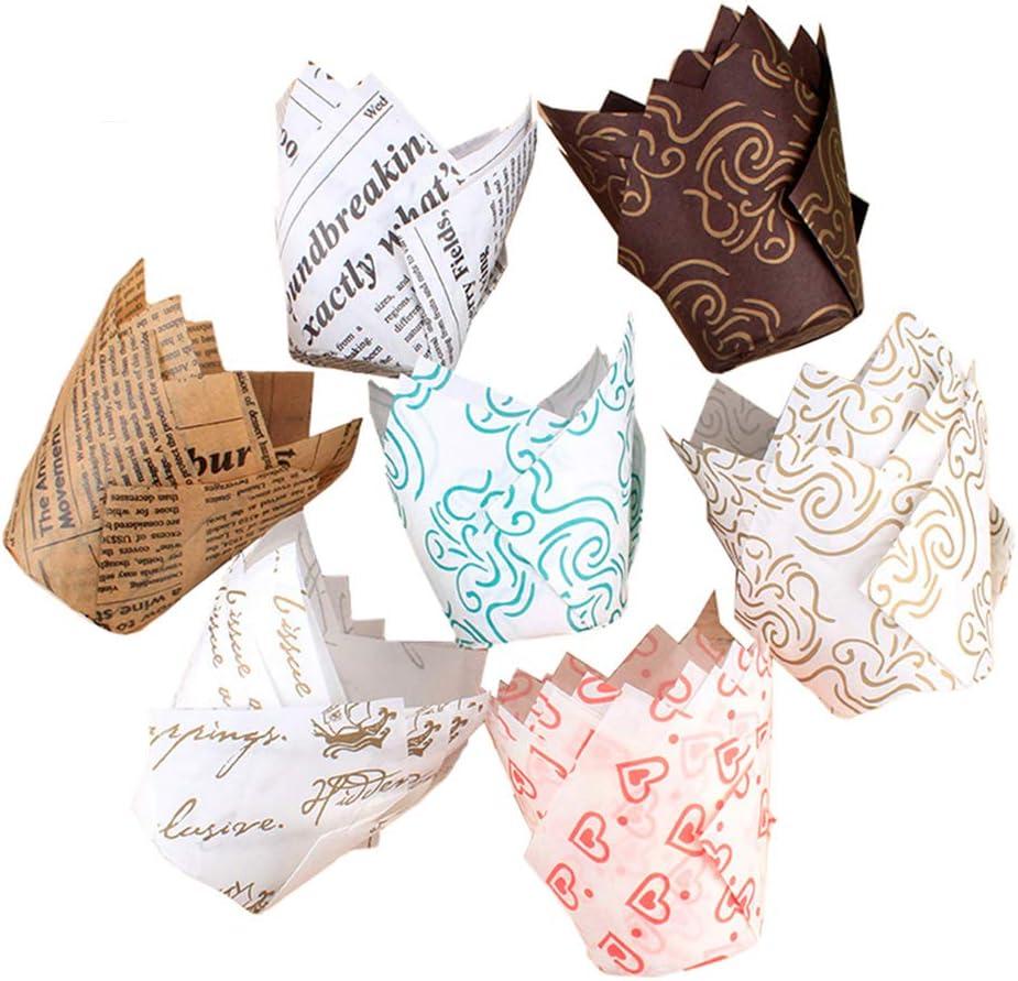 Tinaa 100Pcs Caissettes Cupcake en Papier Emballage De G/âteaux,pour F/ête danniversaire De Mariage,Couleur Al/éatoire