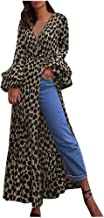 Aniywn Women's Leopard Printed Beach Long Dresses Tops Dress Flare Full Sleeve V Neck Party Dress