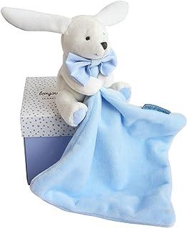 Doudou et Compagnie - Peluche Lapin Avec Doudou Mouchoir - Bleu Ciel - Boîte Fleur - DC3338