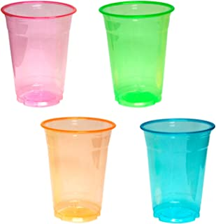 Party Essentials N164060 Plastic Cups, 40-Count, Assorted Neon