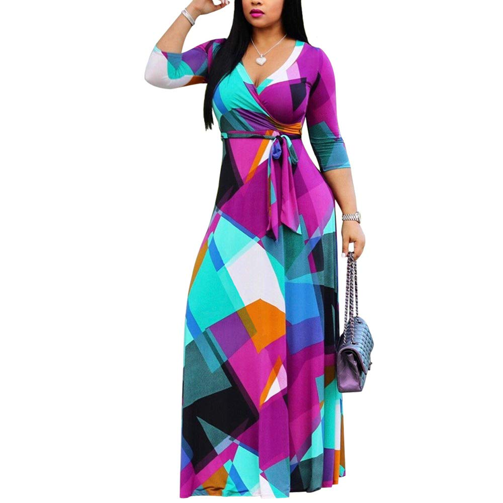 Available at Amazon: WOOSEN Women's V Neck 3/4 Sleeves Plus Size Swing Maxi Dress with Belt