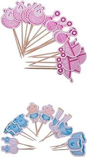 Fenteer 36x Papier Kuchenstecker Cupcake Picks Tortenaufsatz Muffin Topper Cocktail Dekoration für Babyparty