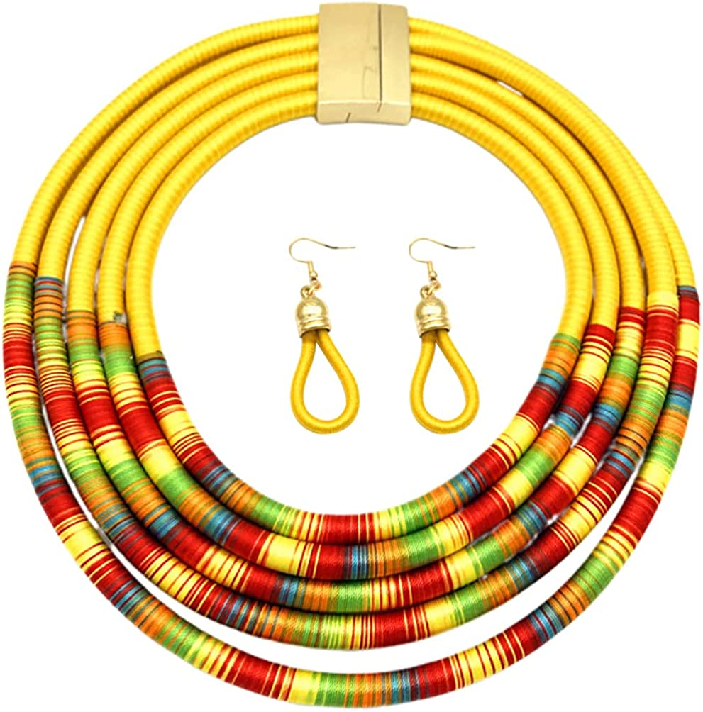 Generic Multi Layers Ethnic Tribal Bib Necklace Statement Earring Jewelry Set