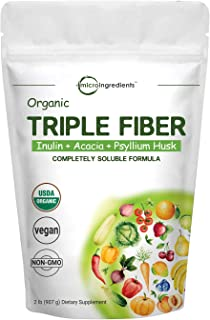 Organic Triple Soluble Fiber Powder (Inulin, Acacia, Psyllium Husk), 2 Pounds (32 Ounce), 3 in 1 Fiber Complex, Premium Fi...