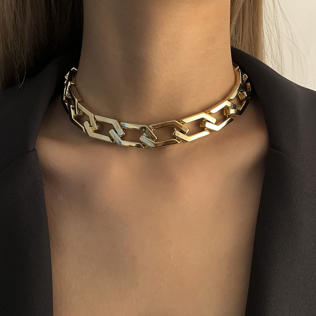 Asphire Punk Link Chain Choker Necklace CCB Chunky Metal Bracelet Hip Hop Geometric Chain Jewelry for Women Teens Girls (Gold, 14'' Necklace)