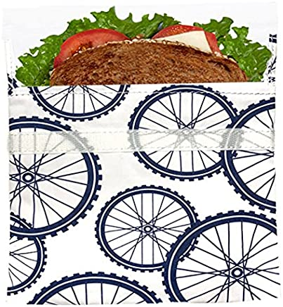 Lunchskins Reusable Sandwich Bag, Navy Blue Bike
