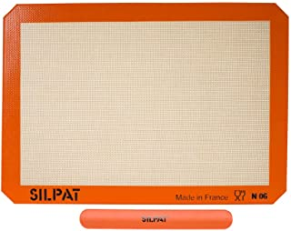 "Silpat AE420295-40 Premium Non-Stick Silicone Baking Mat with Storage Band, Half Sheet Size, 11-5/8"" x 16-1/2"""