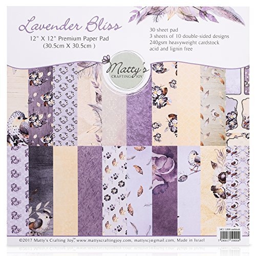 Matty's Crafting Joy Lavender Bliss - 12x12 Double Sided Scrapbook Cardstock Paper Pad, 30 Floral Designer Premium Patterned Heavyweight Paper Pack