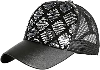 Glitter Hip Hop Dancer Hat Sparkling Bling Sequin Baseball Club Cap Black Y6R4