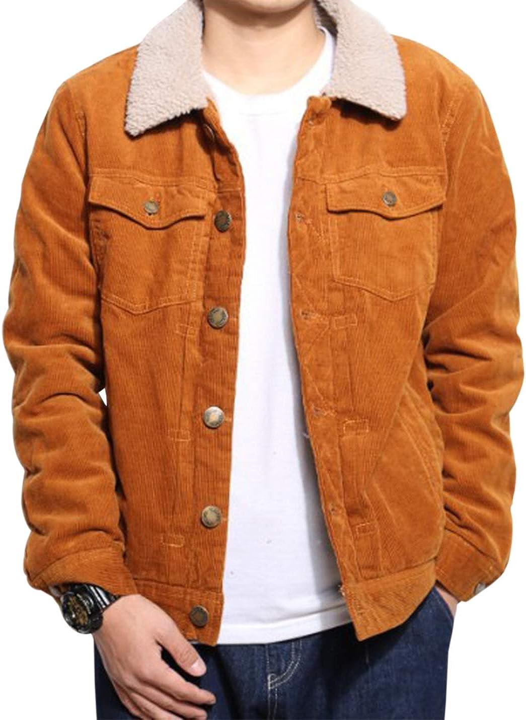 Gihuo Men's Sherpa Fleece Lined Corduroy Jacket with Fur Collar (Khaki, Small)