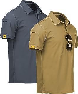 ZITY Mens Polo Shirt Cool Quick-Dry Sweat-Wicking Short Sleeve Sports Golf Tennis T-Shirt 2 Pack KhakiGrey-XL