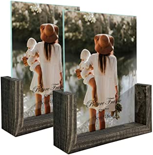 5x7 Picture Frame Set of 2, Rustic Photo Frames Made of Brown Wood Base and Glass Covers for Tabletop Decoration