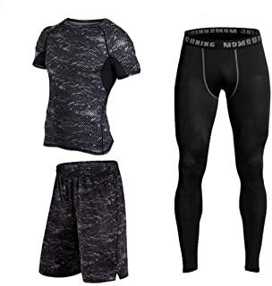 Fitness Running Compression Suits Shirt Pants Short Pack Of 3 For Men