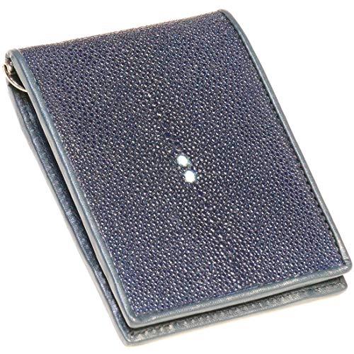 二つ折り マネークリップウォレット レザーウォレット 本革 スティングレイ エイ革 シンプル スリム カードケース 小銭入れ メンズ短財布 革財布 皮財