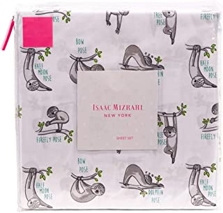 Isaac Mizrahi Co. Chill Hanging Yoga Sloth Sheet Set in Grey Green Brown Animal Print on White (Queen)