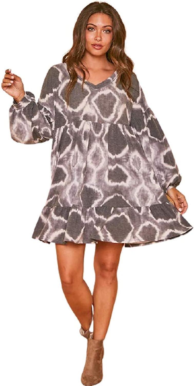 Women's Long Sleeve お見舞い Tie Dye Circle Mini Hem SALE Ruffle Dress