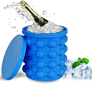 Ice Genie, Silicone Ice Cube Maker with Lid, Reusable Ice Bucket Holds 120 Large Ice Cubes, for Chilling, Cocktail, Bevera...