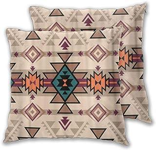 VAMIX 2 Pack Funda de Almohada Color Retro Tribal Navajo Azteca Fantasía Abstracto Geométrico Étnico Lino Suave Cuadrado Sofá Cama Decoración Hogar para Cojín 45cm x 45cm