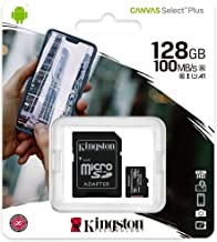 Kingston 128GB microSDXC Canvas Select Plus 100MB/s Read A1 Class 10 UHS-I Memory Card + Adapter (SDCS2/128GB)