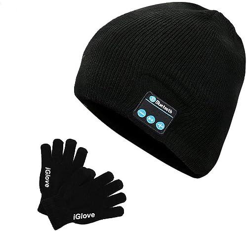 Bonnet Bluetooth et Gant Tactile Bonnet Musique Beanie avec Ecouteurs Intégré sans Fil Unisexe