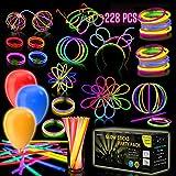 iGlow Glow Sticks Bulk Party Pack Multicolor Non Toxic 228 Pieces Light Stick Set