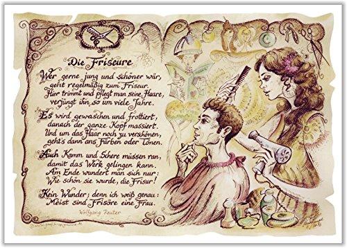 Die Staffelei Geschenk Friseur Frisör Zeichnung Color 30 x 21 cm