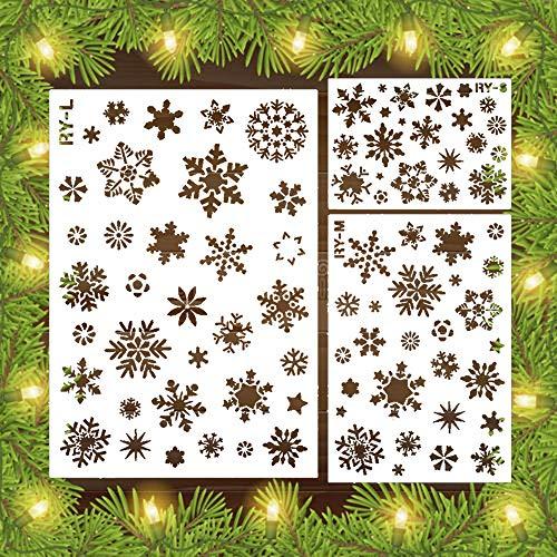 Pawaca Juego de 3 plantillas de decoración navideña con diseño de copos de nieve, más de 30 patrones de copos de nieve, herramienta de pintura, esténcil de nieve para invierno, fiesta de Navidad