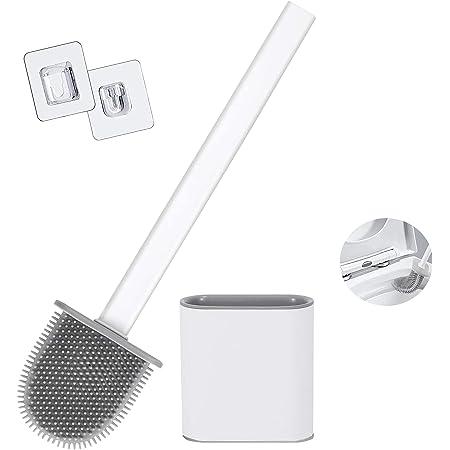 Yuanyiheng Brosse de Toilette Brosse WC Brosse de Toilette en Silicone,Très approprié pour Les Coins et Les Petits espaces Entre Les Toilettes et Le Mur (Blanc)