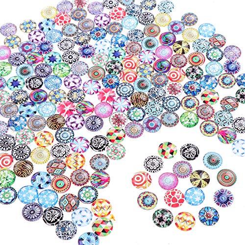 200 Stück Glasnuggets Runde Glasmosaik Mosaik Fliesen glas cabochons für DIY Handwerk Schmuckherstellung 12mm