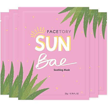 FaceTory Sun Bae Aloe Vera Soothing Sheet Mask - Soothing, Calming, and Hydrating (Pack of 5)