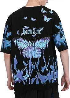 Men's Short Sleeve Harajuku Shirts Hip-Hop Tee Tops Hipster Butterfly T-Shirts Summer Oversize Shirt