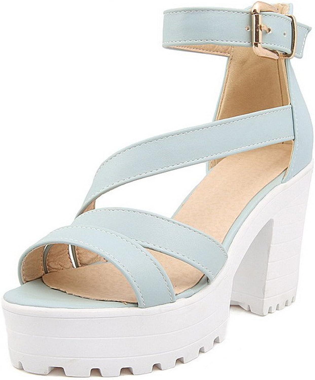 AmoonyFashion Women's Pu Solid Buckle Open-Toe High Heels Heeled-Sandals