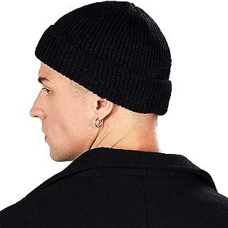 H HOME-MART Knit Trawler Beanie Hat, Roll-up Edge Skullcap Fisherman Beanie for Men Women Black