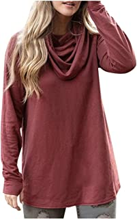 Women Cowl Neck Long Sleeve Solid Casual Loose T-Shirt Tops Tunic