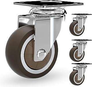 Zwenkwielen, vervangende zwenkwielen, zwaar uitgevoerd rubberen zwenkwiel, metalen zwenkwiel vervangen voor karren, meubel...