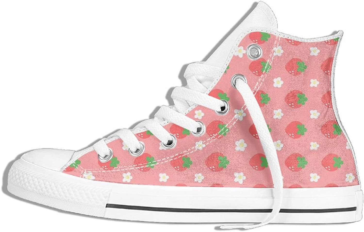 Unisex Hi-Top Canvas Sneakers Pink Strawberry Flowers Lace Up Anti-slip Running Trainers shoes