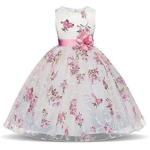 2ac98e7d39e Berngi Baby Girls Floral Flower Princess Dress for Wedding Party Kid Dresses  Toddler Girl Birthday Costume