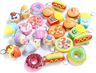 Sinofun 8PCS Random Kawaill Small Food Squishy Package Set, Including Cake, Pizza, Hamburger, Ice Cream, Doughnut, Hot Dog, Slow Rising Keychain Education Toys