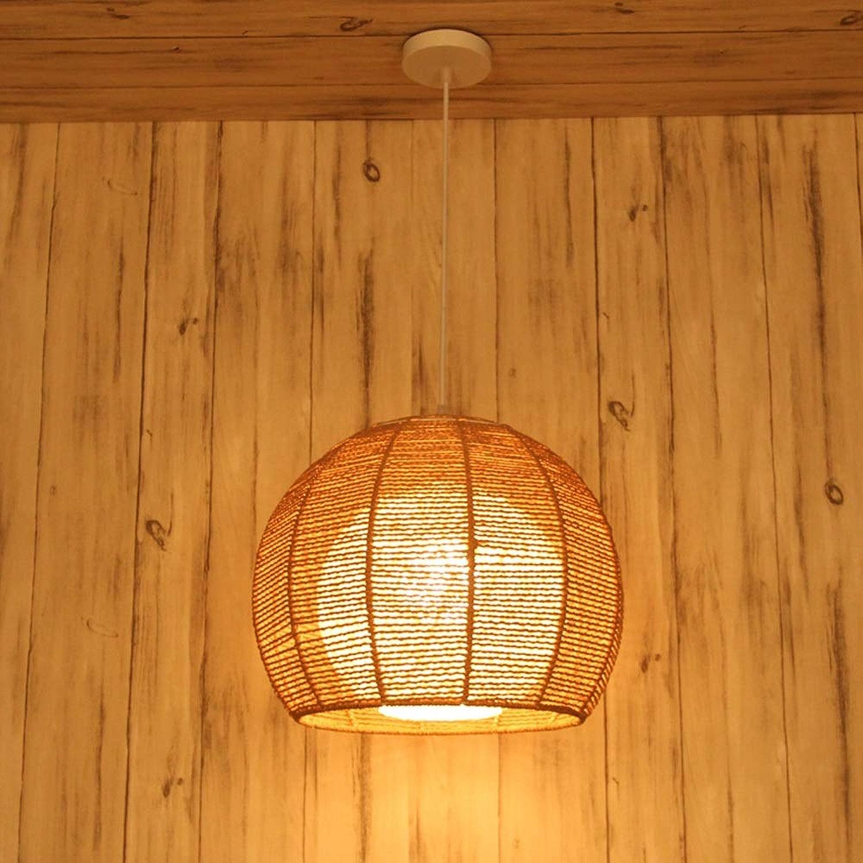 Lustre créatif de corde de chanvre de mode, lampes de décoration de salon cuisine, rondes restaurant suspendu pastorale balcon de la chambre E27 TZZ (Couleur   Linge de couleur, taille   S)