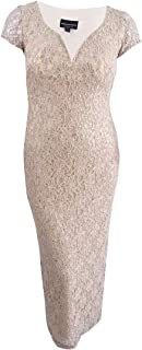 Connected Women's Petite Sequined Lace Column Gown