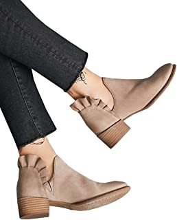 Womens Ruffle Ankle Boots V Cut Out Pointed Toe Booties Chunky Low Heel Slip on Western Shoes Camel