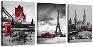 Eiffel Tower Red Old Car Phone Booth Tower Bridge World Famous Buildings 3 Pieces of Canvas Printing Wall Art Decoration Home Wall Black and White Artwork - 12x16 inch x 3