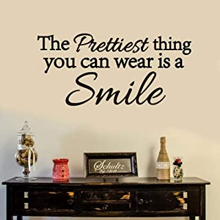 Removable Wall Stickers Decor The Prettiest Thing You Can Wear is Smile for Living Room Nursery Kids Room Play Room Baby Room