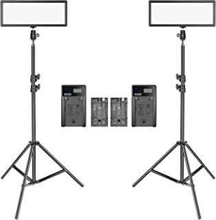 Neewer 2 Packs Super Slim LED Video Light with Light Stand Photography Lighting Kit, 3200K-5600K Bi-Color Dimmable LED Pan...