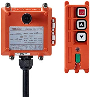 Hoist Crane Industrial Radio Remote Control Wireless Transmitter Stop Button 2 Key Switch F21-2S AC/DC (1 Transmitter+1 Receiver) (F21-2S 440V)