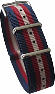 AquaNation - Watch Bands Straps - Choice of Color 20mm Premium Heavy Duty Durable Ballistic NATO Nylon James Bonds Style Replacement Watch Bands Straps (Blue red White)