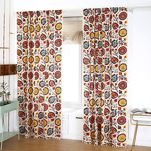 Styho 2 Panels Half Shade Sunflower Print Bohemian Curtains for Bedroom Living Room - Ethnic Boho Stripes Drapes Rod Pocket 59x63Inch