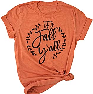 UNIQUEONE It's Fall Y'all T-Shirt Women Halloween Short Sleeve Funny Southern Fall Tops Tee