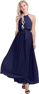 iEFiEL Women Elegant Chiffon Halter Neck Bridesmaid Evening Party Long Formal Dress with Tied Sash